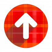 up arrow red flat icon isolated