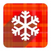 snow red flat icon isolated