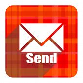 send red flat icon isolated