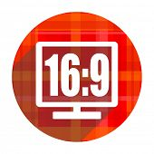 16 9 display red flat icon isolated