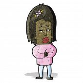 cartoon anxious woman