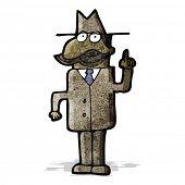 cartoon detective solving;case;