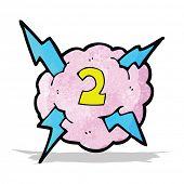 cartoon lighting storm cloud symbol with number two