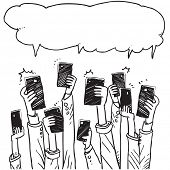 Group of hands with cell phones taking selfies speaking