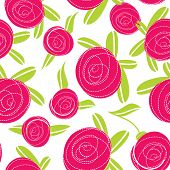 Seamless pattern with abstract rose flowers. Vector illustration.