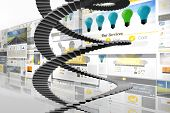 Winding stairs against screen collage showing business advertisement
