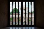 window view at taman sari water castle - the royal garden of sultanate of jogjakarta