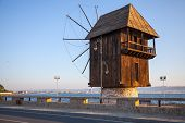 Old Wooden Windmill On The Coast, The Most Popular Landmark Of Old Nesebar Town, Bulgaria