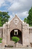 a gate at taman sari water castle - the royal garden of sultanate of jogjakarta