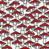 stock photo of toadstools  - Toadstool mushrooms white beige red autumn seasonal seamless pattern on white background - JPG