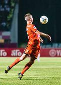Sisaket Thailand-october 15: Brent Mcgrath Of Sisaket Fc. Chest The Ball During Thai Premier League