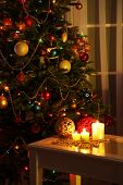 Cozy Christmas interior with decorated Christmas tree