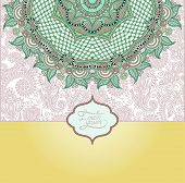 islamic vintage floral pattern, template frame for greeting card