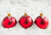 Red christmas balls with snow