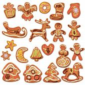 Set Of Xmas Gingerbread Isolated On White - Cookies In Reindeer, Star, Moon, People, Heart, House An