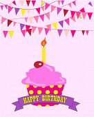 Happy birthday cupcake with candle and banner with message.  Flags in the background.  EPS vector format.