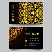 Business card template, black and golden beauty fashion pattern vector design