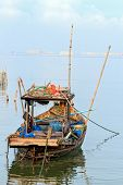 Small Fisherman Boat With Traditional Fishing Tools, Thailand