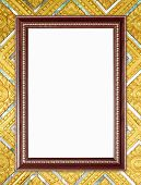 Blank Wood Frame On Buddha Wall