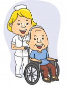 Illustration Featuring a Nurse Pushing a Wheel chaired Patient