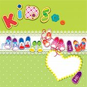 Card - Children Gumshoes, Lace Heart And Word Kids On Green Background