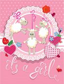 Pink Baby Shower Card With Sheep And Hearts - Design For Girls. Birthday Invitation With Handwritten