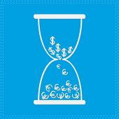 White Hourglass With Dollar And Euro Money Signs. Blue Backgroun