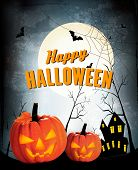 Retro Halloween night background with two pumpkins. Vector