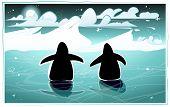 Penguins in arctic night