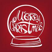 christmas snow globe symbo drawn  vector illustration