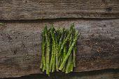 Food. Asparagus on a wooden table