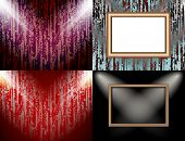 Set of Background with frames and spotlights. Vector