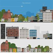 Flat design urban landscape illustration & set of elements