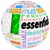 Essential and related words like vital, crucial, important, wanted, needed, undeniable and necessary on a globe with open door leading to a successful future