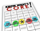 Core Competency bingo game lining up your competitive advantages and unique differentiators to beat the competition in your market for new customers and clients