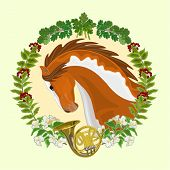 Piebald Horse Hunting Theme Vector