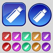 Usb sign icon. flash drive stick symbol. Set colourful buttons. Vector