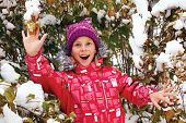 Girl Looking Snow Falling With His Mouth Open