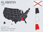 Set Of Infographic Elements For The State Of Alabama