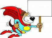 Cartoon Superhero Dog with a Sign