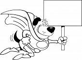 Cartoon Superhero Dog with a Sign