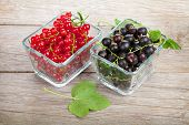 Fresh ripe currant berries on wooden table background