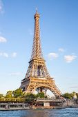 Eiffel Tower with blue sky along river seine, Paris France