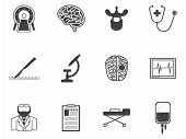 Black vector icons for neurosurgery