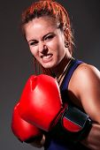 Beautiful Girl With Red Boxing Gloves, Dreadlocks