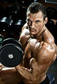 picture of execution  - vertical close up portrait handsome guy bodybuilder execute exercise with dumbbells in dark gym - JPG