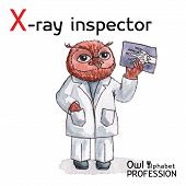 Alphabet professions Owl Letter X - X-Ray Inspector Vector Watercolor.