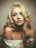 stock photo of fine art portrait  - Photo of beautiful woman with magnificent blond hair - JPG