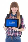 Teenage Girl Holding Tablet Pc With Login Screen Isolated On White