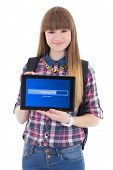 Teenage Girl Holding Tablet Pc With Loading Screen Isolated On White